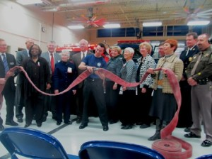 A very unique ribbon cutting for Fire Science.