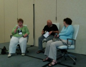 Charlaine Harris,  moderator Craig Faustus Buck, and Anne Perry